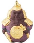 Traditional Chinese Purple Clay Figurine with Gold Leaf Finish