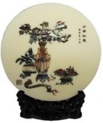 Traditional Chinese Circular inlaid Mother of Pearl Lacquer Work with Stand