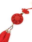 Traditional Chinese Lucky Charm - Carved Lacquerware with Chinese Knot and Tassel