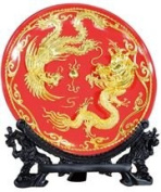 Traditional Chinese Glazed Porcelain Plate with Resin Dragon and Phoenix Design Covered with Gold Leaf