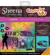 Sheena Douglass Grooving 60's Stencil Camper, Clear, 20cm x 20cm