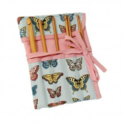 'Butterflies' Design Crochet Hook Roll, Can Hold Six Pins & Ties to Fasten