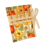 Poppies Design Style Crochet Hook Roll, Can Hold Six Pins & Ties to Fasten