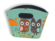 Small Rigid Tidy Bag - Owls in the Rain Design