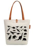 So'each Women's Various Dinosaurs Graphic Canvas Tote Shopper Shoulder Bag