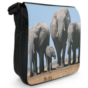 Elephant Small Black Canvas Shoulder Bag / Handbag
