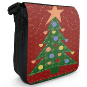 Childs Drawing of Green Christmas Tree with Hearts Small Black Canvas Shoulder Bag / Handbag