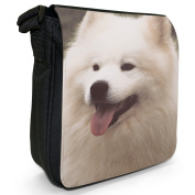 Samoyed Dog Close Up Small Black Canvas Shoulder Bag / Handbag