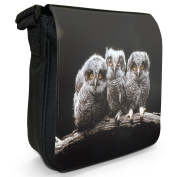 Owls Small Black Canvas Shoulder Bag / Handbag