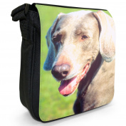 Weimaraner Dog Small Black Canvas Shoulder Bag / Handbag