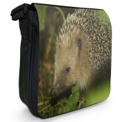 Hedgehog Small Black Canvas Shoulder Bag / Handbag