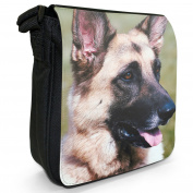German Shepherd Dog Small Black Canvas Shoulder Bag / Handbag