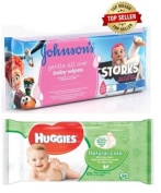 Soft Baby Wet Huggies Natural Care and Johnsons Gentle All Over Scented 56 Wipes