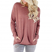 Women Sweatshirt T Shirt Solid Colour Long Sleeve Casual Loose Tunic Blouses Tops