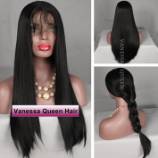 Vanessa Queen Natural Hair Wigs With Baby Hair Straight Synthetic Lace Front Wig Black Colour 50cm
