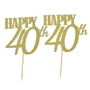 YNuth Happy 40th Birthday Glitter Cake Toppers for Birthday Party Decoration Pack of 2pcs