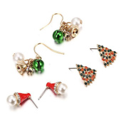 Cdet 3 Pairs Lady Girl Earrings Christmas Tree Lucky Bell Ear Studs Jewellery Accessories Love Gift