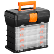 VonHaus Utility Tool Box Organiser Case with 4 Drawers & Adjustable Dividers