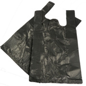 300 BLACK PLASTIC POLYTHENE VEST STYLE CARRIER BAGS - SIZE 11 x 43cm x 50cm SHOPPING GROCERY GIFT BOUTIQUE SUPERMARKET CASH N CARRY MARKET STALL POLYBAGS