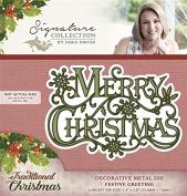 Sara Signature Traditional Christmas Metal Die Festive Greeting, Red