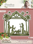 Sara Signature Traditional Christmas Metal Die Away in a Manger, Red