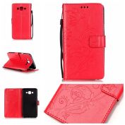 For Samsung Galaxy J7 (2015 Model) Case Cover [with Free Screen Protector], Funyye Elegant Premium Folio PU Leather Wallet Magnetic Flip Cover with [Wrist Strap] and [Credit Card Holder Slots] Stand Function Book Type Stylish Butterfly Leaf Vines Desig ..