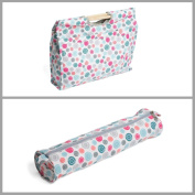 Matching Set - Knitting Bag (wooden handles) & Knitting Pin Soft Case - Scattered Buttons