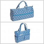 Matching Set - Knitting Bag (fabric handles) & Craft Bag ( PVC) - Denim Spot