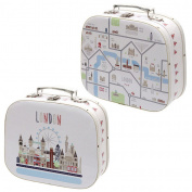 Decorative London Map Design Craft Cases - Set of 2