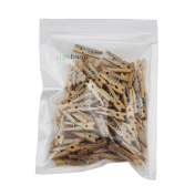 Haobase 100Pcs 25mm Mini Wooden Craft Clips Photo Paper Pegs Natural Colore