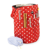 Knitting Bucket Bag, Sewing Accessories And Craft Needle Storage Organiser In Red Polka Dot