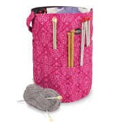 Knitting Bucket Bag, Sewing Accessories And Craft Needle Storage Organiser In Imperial Pink