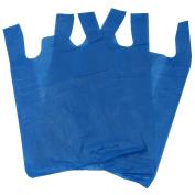 100 Blue Plastic Polythene Vest Style Carrier Bags - Size 11 x 43cm x 50cm Shopping Gift Boutique Supermarket Cash N Carry Market Stall