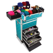 Knitting And Sewing Tanzania Accessories Trolley, Craft Storage Organiser In Imperial Teal