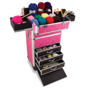 Knitting And Sewing Tanzania Accessories Trolley, Craft Storage Organiser In Imperial Pink