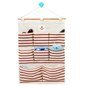Hanging Wall Case Pocket Home Organisation Storage Bags,8 Pockets,Red