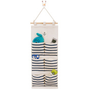 Hanging Wall Case Pocket Home Organisation Storage Bags,6 Pockets Blue
