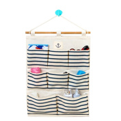 Hanging Wall Case Pocket Home Organisation Storage Bags,8 Pockets,Blue