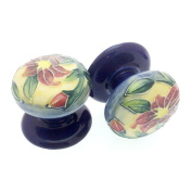 Pair of 50mm Ceramic Drawer Pulls/ Cabinet Doorknobs - Old Tupton Ware - Lily Design