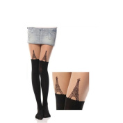 Women Girl's Cute Cartoon Design Tattoo Socks Stockings Pantyhose Tights Towel