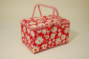 Sewing Basket - Rectangular Twin Lid - Double Handle - Flower Power - Fabric Features Floral Design