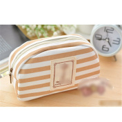 Fashion Striped Canvas Pen Pencil Case Makeup Bag Cosmetic Zipper Pouch Coffee