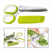 Itian 5 Blade Vegetable Kitchen Scissors Multipurpose Stainless Steel Kitchen Shears Cover Cleaning Comb for Cutting Scallions Rosemary