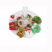 Cheap4uk 6PCS PVC Merry Christmas Wine Glass Charms Rings Marker Christmas Party Bar Table Decorations