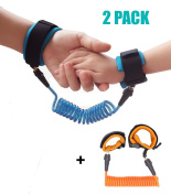 2 Pack Baby Child Anti Lost Strap Skin Care Wrist Link Belt Sturdy Flexible Safety Harness for Travel Outdoor Shopping, Blue+Orange by BEELY