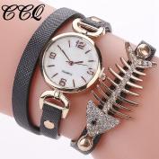 Wawer Lovely CCQ Women Fashion Casual Analogue Quartz Wing Rhinestone Fish Bones Bracelet Watch