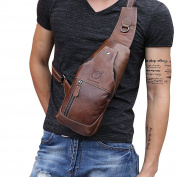 Tourwin Shoulder Bag Real Leather Men's One Shoulder Body Bag Diagonal Bags Fashionable Light Weight Large Capacity Bag Back