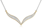 Fiorelli Silver Yellow Gold and Pave Wavy Necklace of Length 46cm