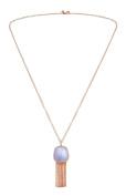 Lola Rose Bassa Facet Tassel Blue Lace Agate Necklace of Length 80cm