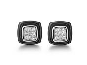 P.D.Man Cubic Zirconia Black Ceramic Earrings